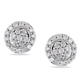 Miadora Sterling Silver 1 2ct TDW Diamond Stud Earrings
