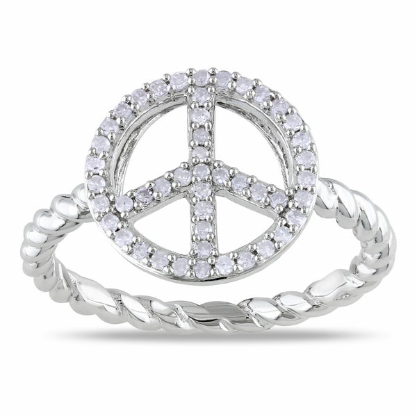 Sterling Silver 1/5ct TDW Diamond Peace Sign Ring