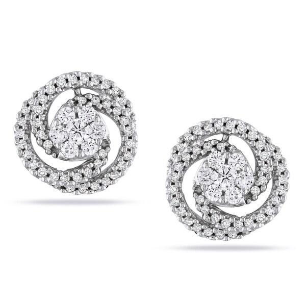 Miadora Signature CollectionMiadora 14k White Gold 1/2ct TDW Diamond Swirl Earrings