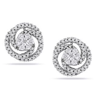 Miadora Signature CollectionMiadora 14k White Gold 1/2ct TDW Diamond Swirl Earrings|https://ak1.ostkcdn.com/images/products/7499004/P14941515.jpg?impolicy=medium