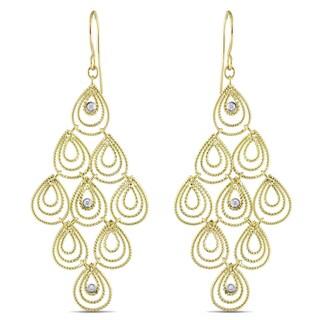 Miadora 14k Yellow Gold 1/8ct TDW Diamond Dangle Earrings (G-H, SI1-SI2)