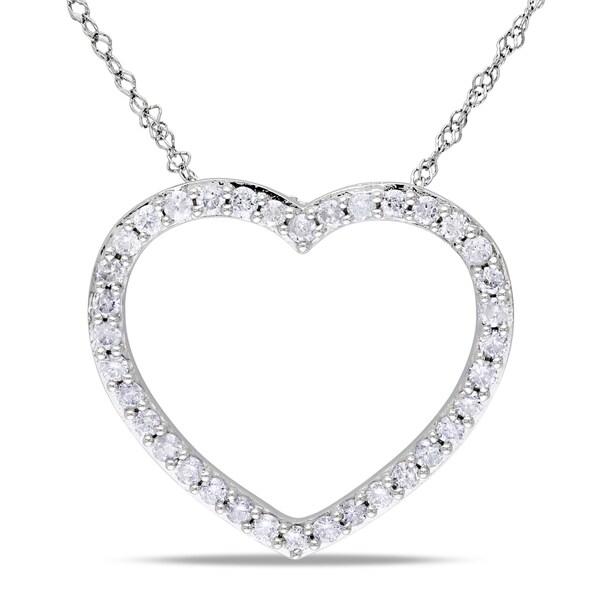 Miadora 14k White Gold 1/2ct TDW Diamond Heart Necklace