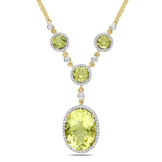 Miadora Signature Collection 14k White Gold Lemon Quartz 1/2ct TDW Diamond Necklace (G-H, SI1-SI2)