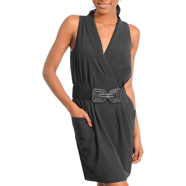 Stanzino Women's Black Belted Mock Wrap Dress
