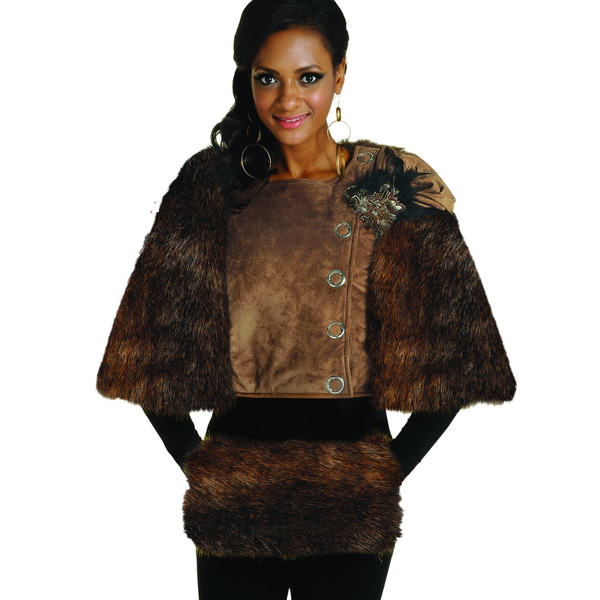 Donna Women's Faux Suede Jacket with Fur Cape and Matching Hand Muff