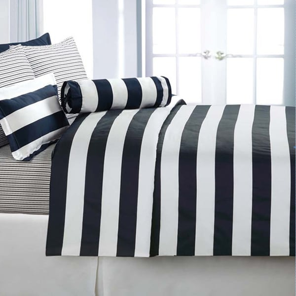 Echelon Home Cabana Stripe Cotton Sateen 3-piece Duvet Cover Set