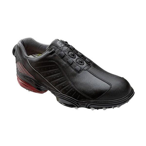 FootJoy Men's FJ Sport Black/ Black/ Crimson Golf Shoes with BOA Lacing System