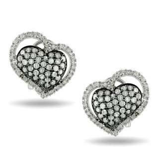 Miadora Sterling Silver 1ct TDW Diamond Heart Earrings