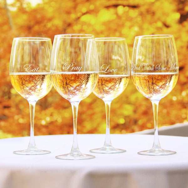 Eat, Pray, Love White Wine Glasses (Set of 4)