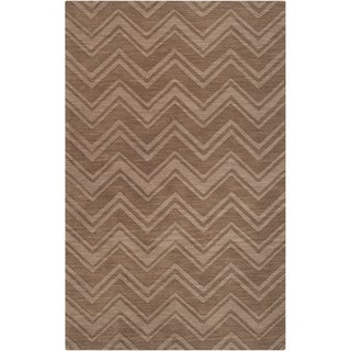 Hand-crafted Solid Brown Chevron Buda Wool Rug
