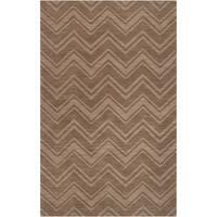 Hand-crafted Solid Brown Chevron Buda Wool Area Rug