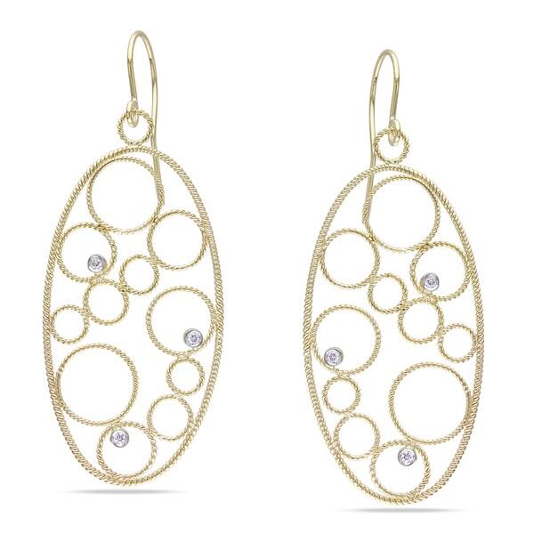 Miadora 14k Yellow Gold 1/8ct TDW Diamond Earrings