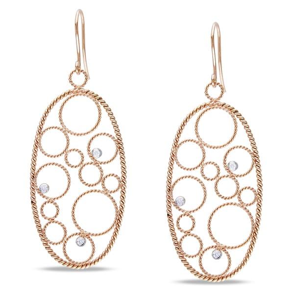 Miadora 14k Rose Gold 1/8ct TDW Diamond Dangle Earrings