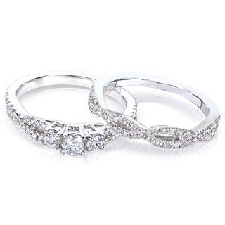 Annello 14k Gold 1/2ct TDW Diamond Braided Bridal Ring Set (H-I, I1-I2)