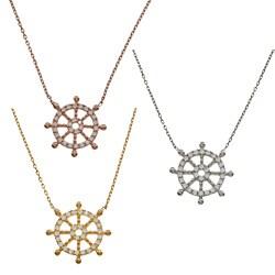 La Preciosa Sterling Silver Cubic Zirconia Ship's Wheel Necklace