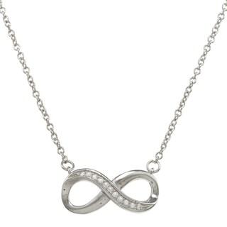 La Preciosa Sterling Silver Created White Topaz Infinity Necklace