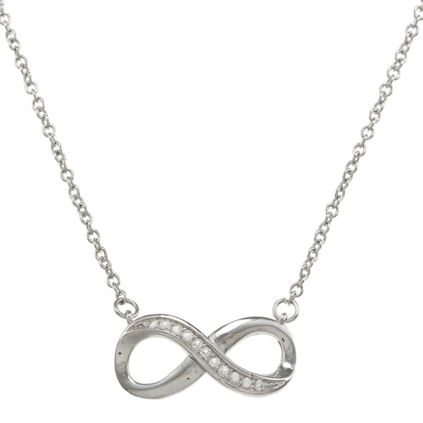 La Preciosa Sterling Silver Created White Topaz Infinity Necklace