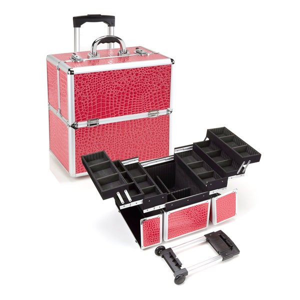 Seya Pink Gator Rolling Makeup Case with Detachable Trolley