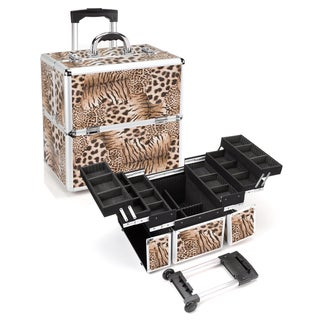 Seya Tiger Leopard Rolling Makeup Case with Detachable Trolley