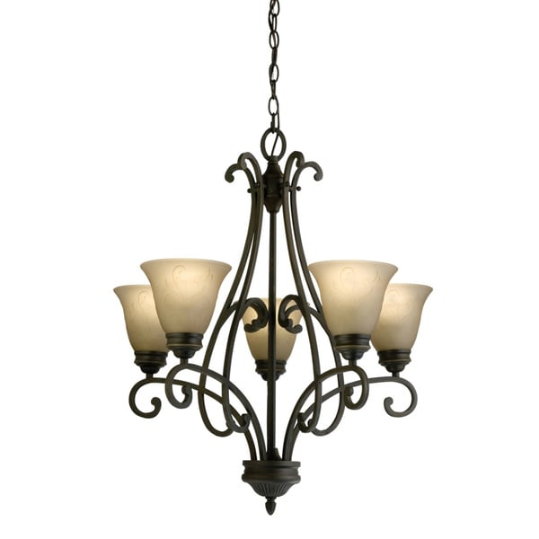 Lithonia Lighting 'Priscilla' 5-light Antique Bronze Chandelier