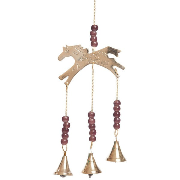 Handmade Brass Bell Horse Wind Chime (India)