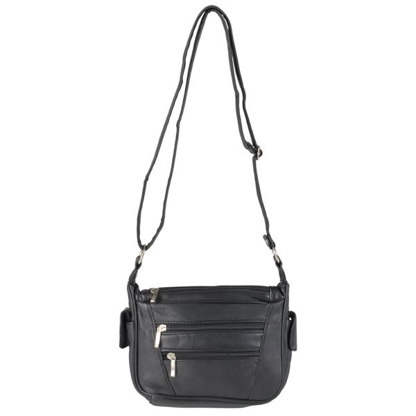 Journee Collection Women's Multi-pocket Leather Crossbody Handbag