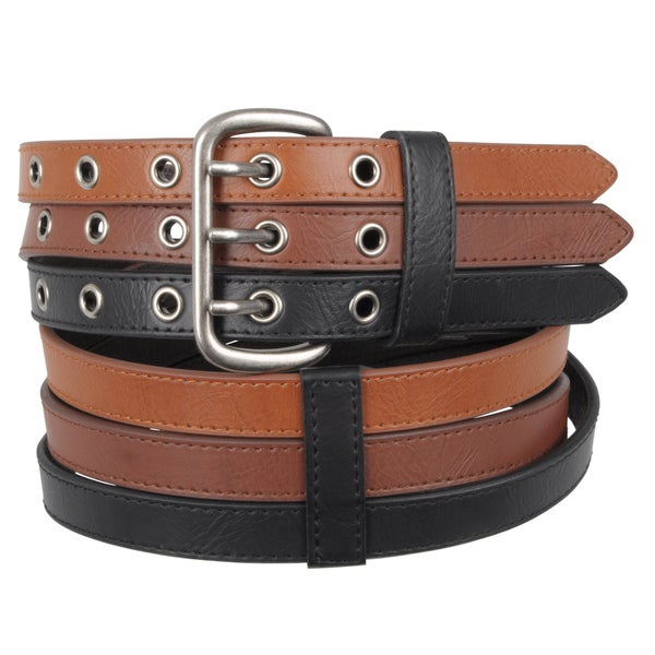 Journee Collection Women's Tri-color Topstitched Belt
