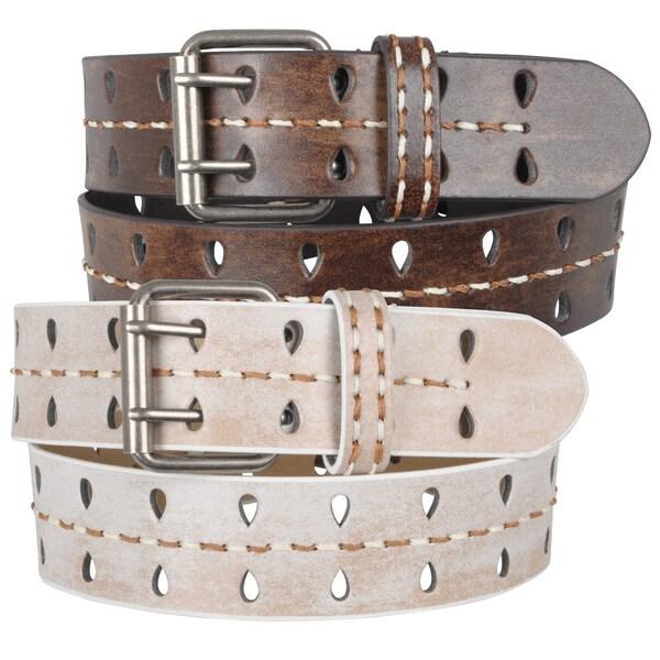 Journee Collection Women's Vintage Stitching Detail Leather Belt