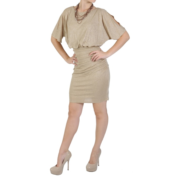 Sangria Women's Blouson Ruched Metallic Dress