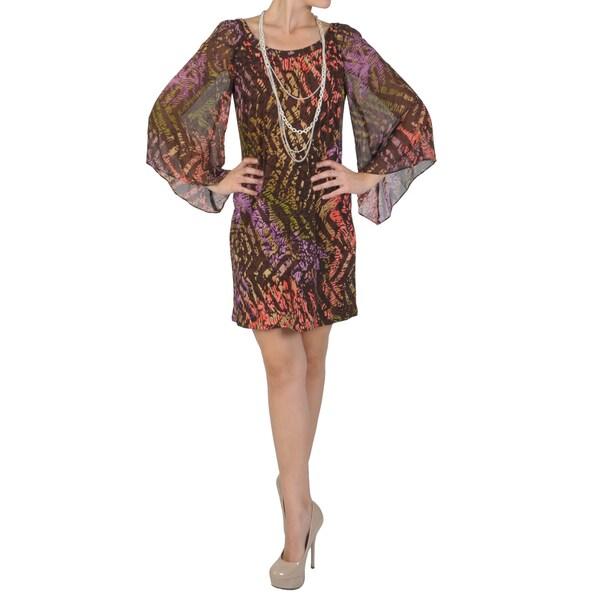 Sangria Women's Scoop Neck Bell Sleeve Mod Dress