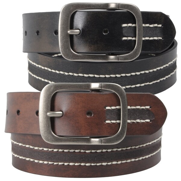 Journee Collection Women's Vintage Topstitched Leather Belt