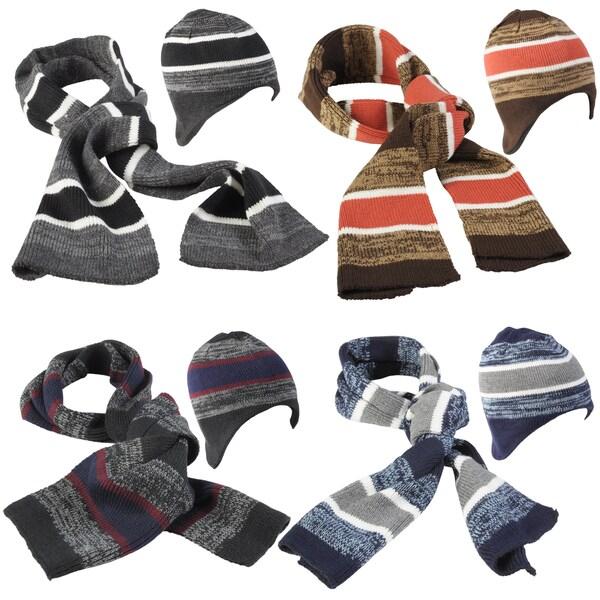 Boston Traveler Men's Striped Knit Hat and Scarf Set
