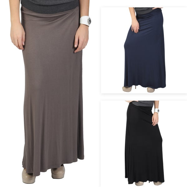 Journee Collection Junior's Banded Knit Maxi Skirt