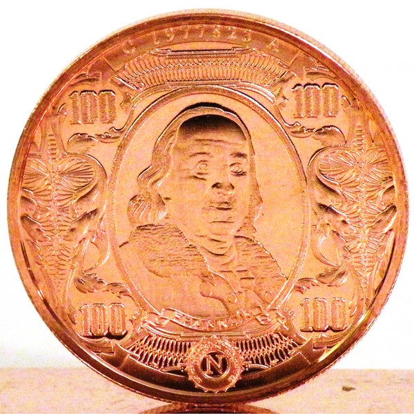 1 ounce 999 Pure Copper Bullion Coin 2012 Ben Franklin $100 Note Design