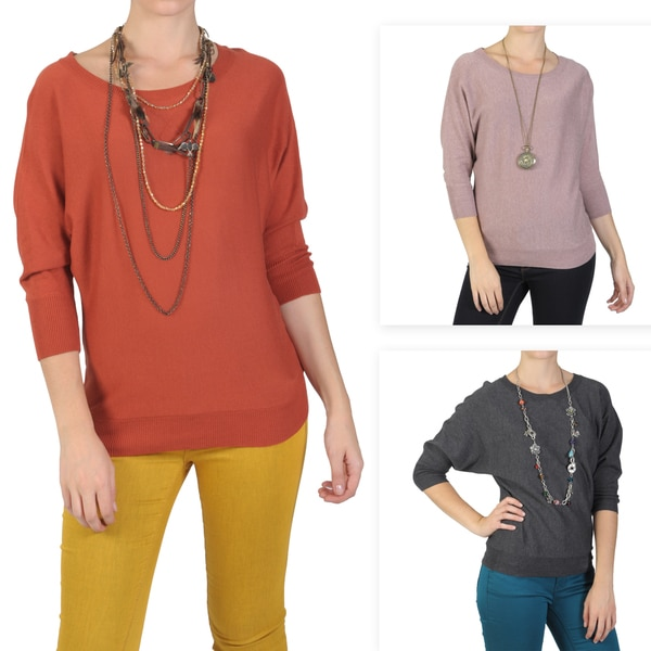 T by Hailey Jeans Co. Women's Dolman Sleeve Crew Neck Sweater
