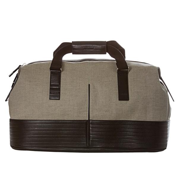 Christian Dior Beige/ Black Canvas/ Leather Duffle Bag