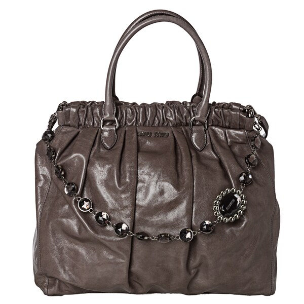 Miu Miu RN0819 US0 F0031 Vitello Shine Textured Leather Tote Bag