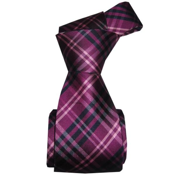 Dmitry Men's Purple Patterned Italian Silk Neck Tie