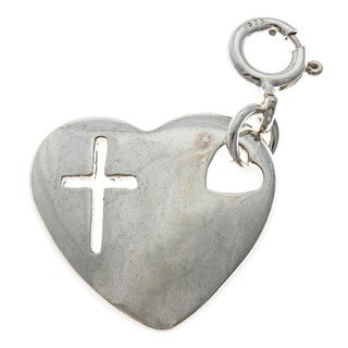 Sterling Silver Heart with Cross Charm