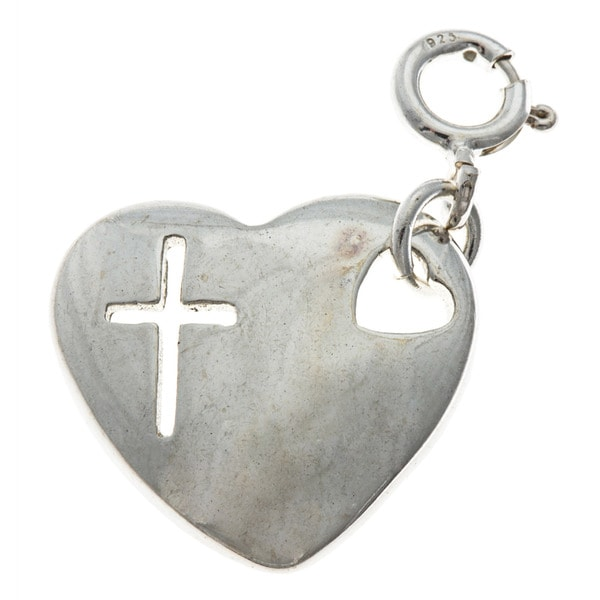 Sterling Silver Heart with Cross Charm. Opens flyout.