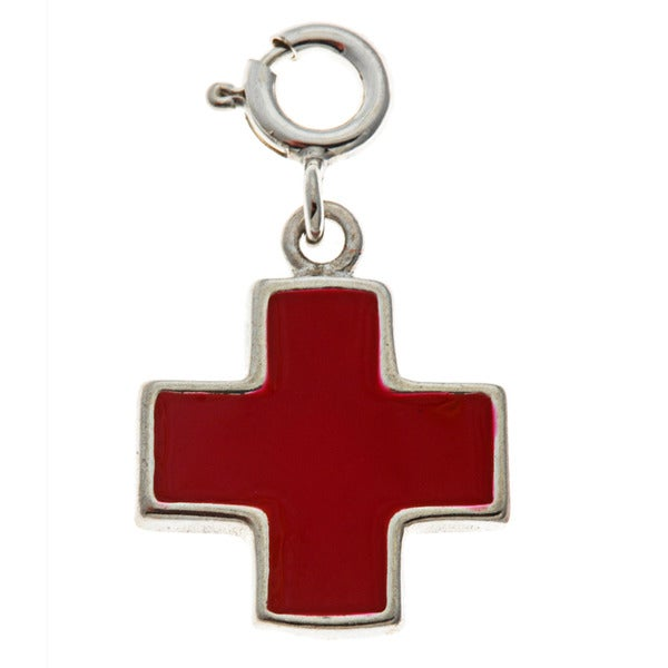 Sterling Silver Cross with Enamel Charm
