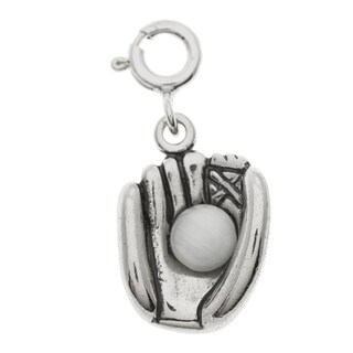 Sterling Silver White Freshwater Pearl Baseball Glove Charm