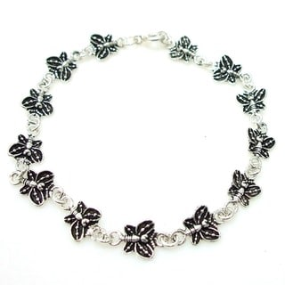 Delicate Butterfly Link Sterling Silver Bracelet (Thailand)