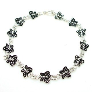 Handmade Delicate Butterfly Link Sterling Silver Bracelet (Thailand)