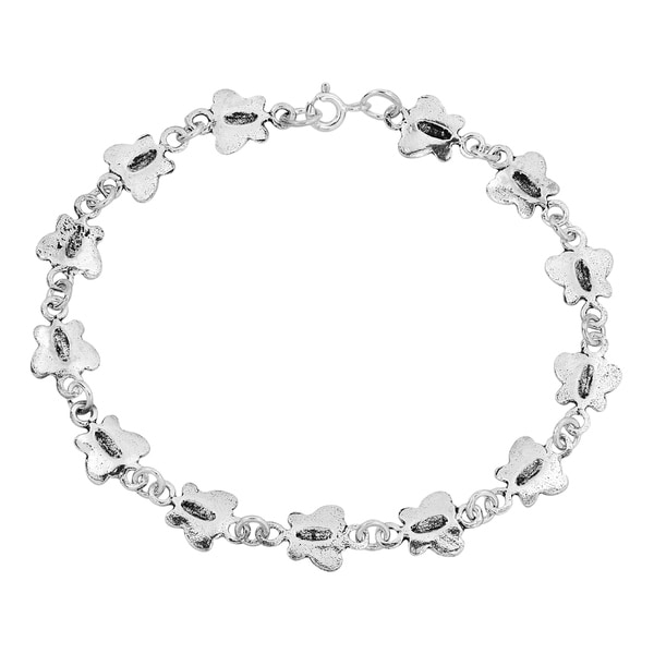 Sterling Silver Polished Butterfly and Flowers Bracelet