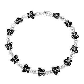 Handmade Delicate Butterfly Link Sterling Silver Bracelet (Thailand)