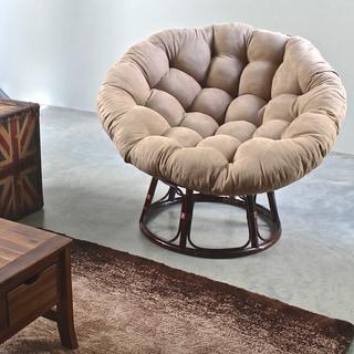 International Caravan Bali 42 Inch Rattan Papasan Chair With Cushion