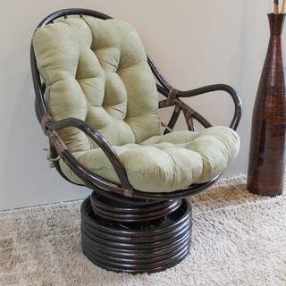 International Caravan Balu Rattan Swivel Rocker with Microsuede Cushion