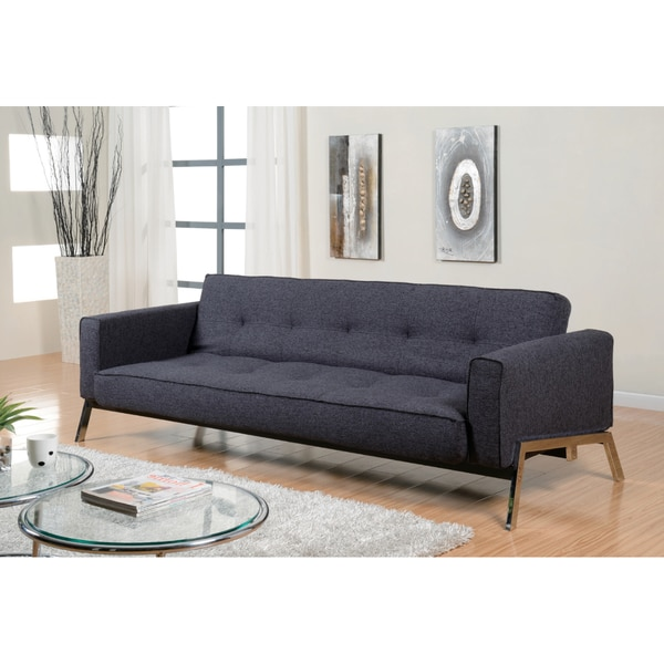 Abbyson living valentino charcoal grey fabric sleeper sofa for Sofa bed overstock