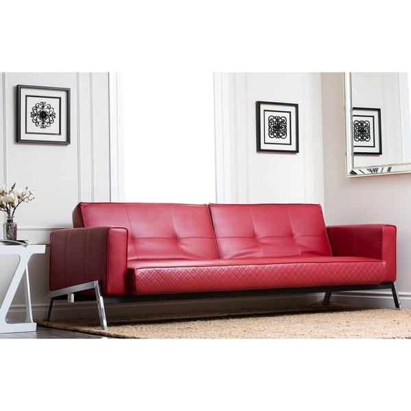 Shop Abbyson Living Frankfurt Red Faux Leather Convertible